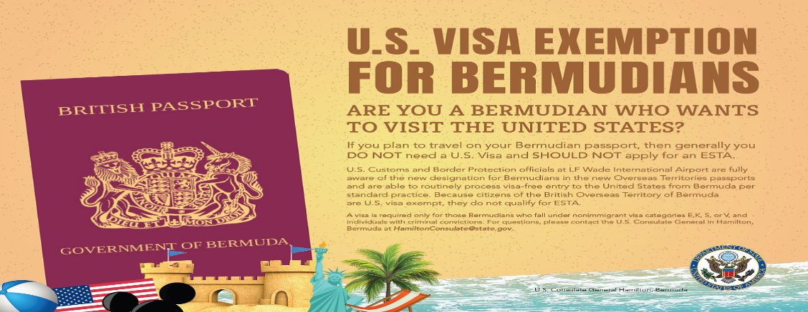 U.S. Consulate Issues Travel Information Confirming Visa Exemption for Bermuda Citizens